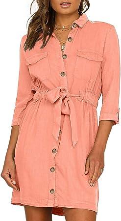 Vestido Camisero Para Mujer,Verano Manga Larga Mini Vestido Cuello En V Vestimenta Casual Botón Abajo Frente Vestidos Cortos De Camisa De Túnica Con Belt Party Vestidos De Camisa,Naranja,M: Amazon.es: Hogar