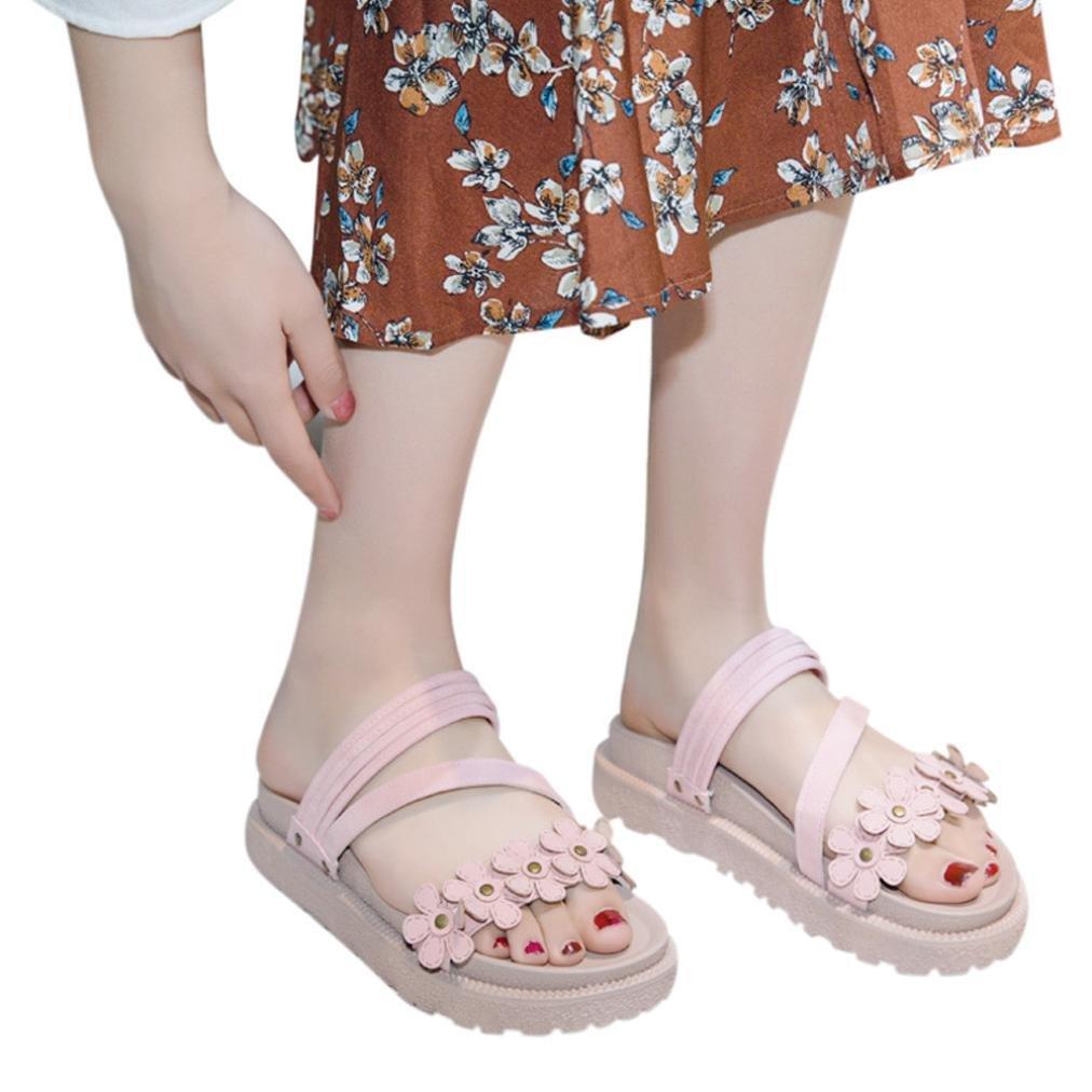 FORUU Women Platform Floral Open Toe Shoes Boho Beach Anti Skidding Flat Sandal (38, Pink)