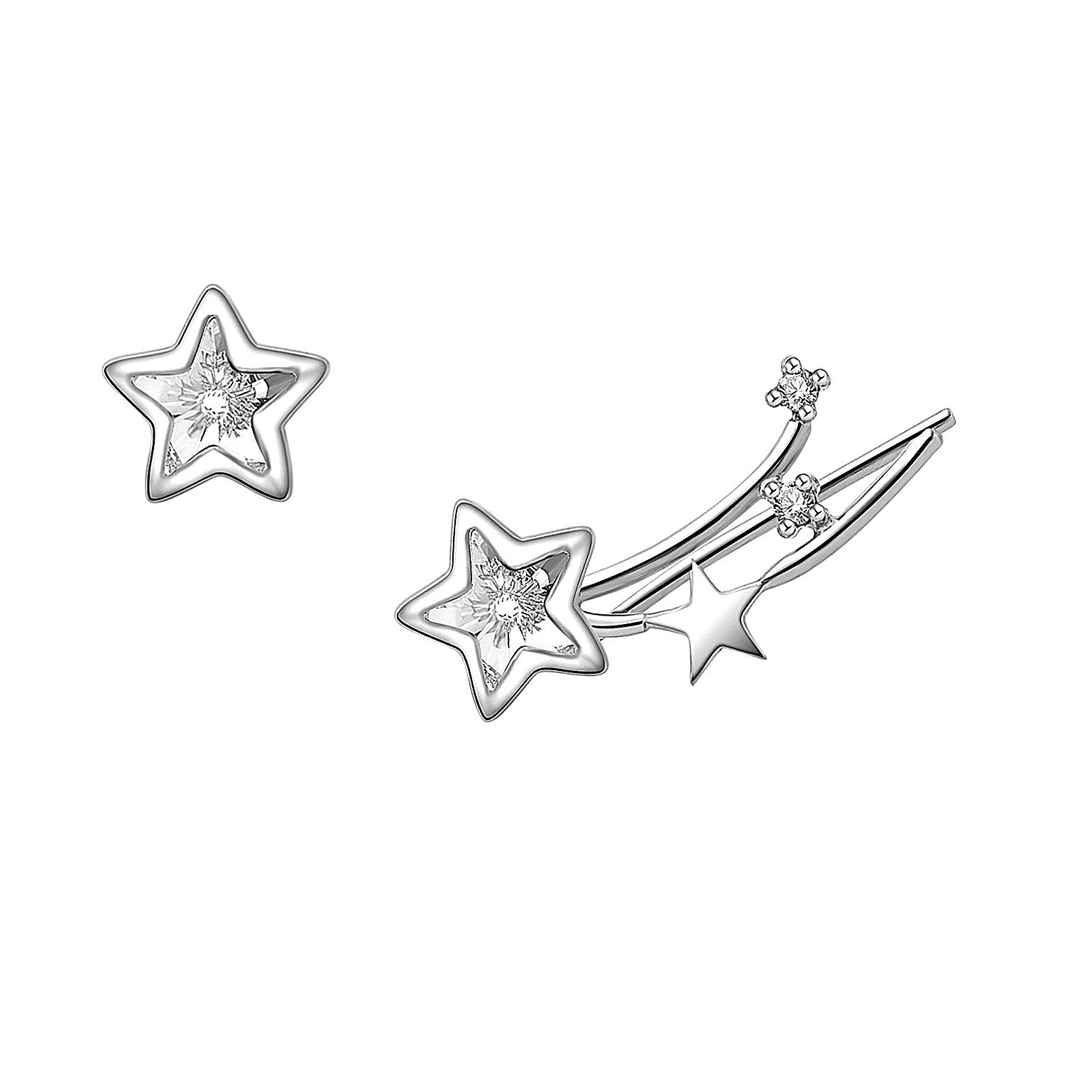 YAN & LEI Sterling Silver Swarovski Crystal Shooting Star Asymmetric Ear Crawler Color Silver