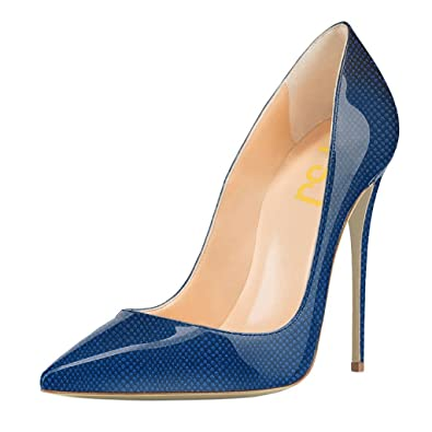 FSJ Women Fashion High Heel Stilettos Pointed Toe Pumps Evening Dress  Printed Shoes Size 4 Blue d0e4954ee37f