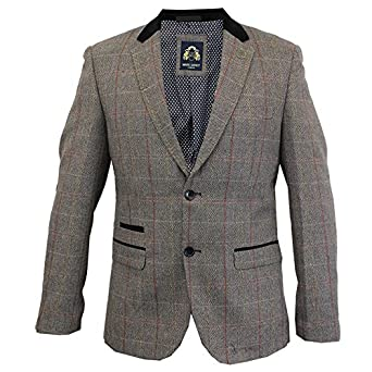 880cb25b35d8 Mens Blazer Marc Darcy Wool Look Coat Formal Dinner Check Jacket Patch  Lined New