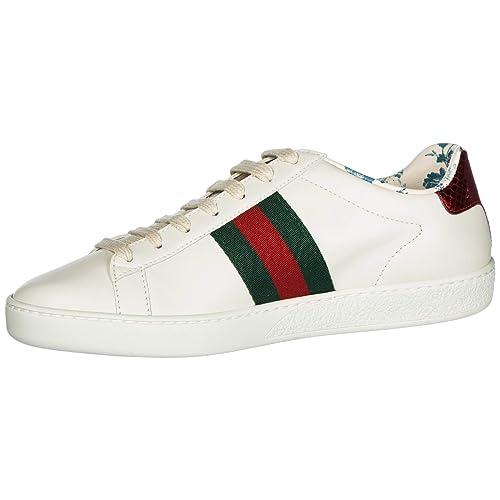 Gucci Zapatos Zapatillas de Deporte Mujer en Piel Blanco EU 39 525268 0G2D0 9072: Amazon.es: Zapatos y complementos