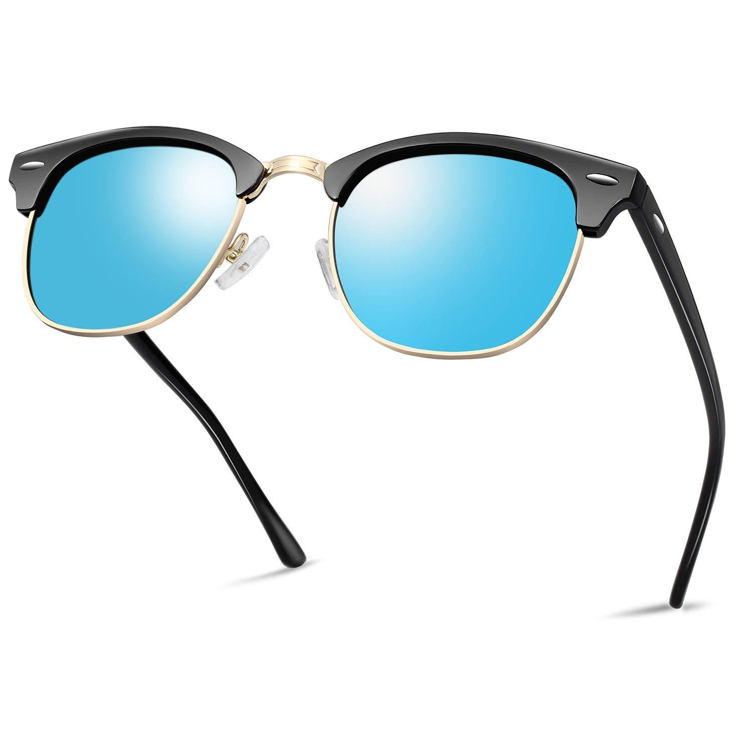 Semi Rimless Polarized Sunglasses for Women Men, Unisex Sunglasses with Half Frame - Blue Mirrored Lens by KANASTAL