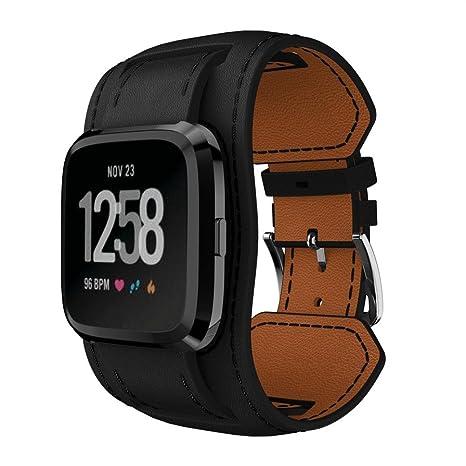 Malloom Bandas anchas estilo de cuero pulsera de repuesto correa para Fitbit versa SmartWatch (Negro)