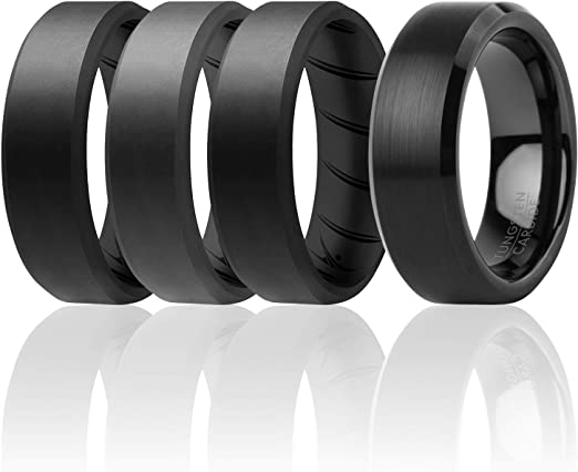 3 Silicone /& 1 Tungsten Carbide Wedding Rings for Men Tungsten Carbide Band for Special Events Mens Silicone Rings for Work//Sport//Hiking ROQ 4 Pack Beveled Edges Brushed Top Style