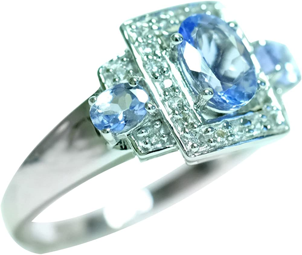 White Topaz 925 Sterling Silver Rings Silver Jewelry Natural Tanzanite