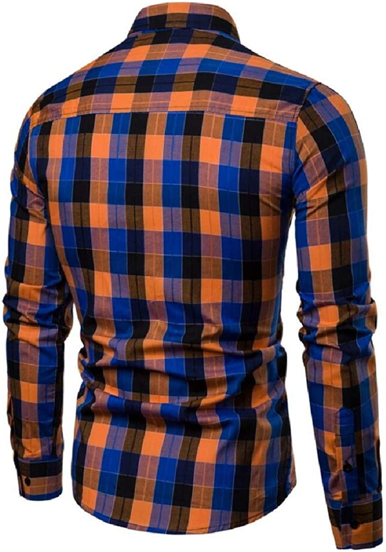 Generic Mens Classic Plaid Long Sleeve Casual Slim Button Front Shirts