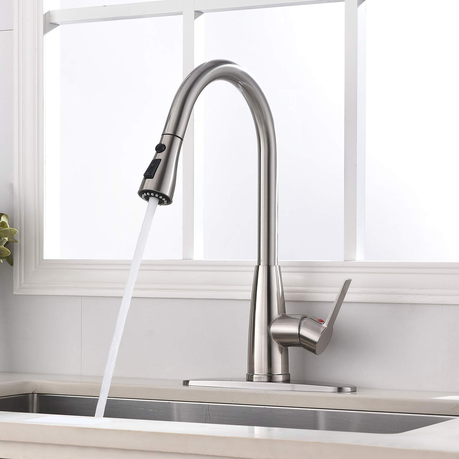 Hotis Modern High Arc 1 or 3 Hole Single Handle Stainless Steel Prep Sprayer Pull Out Pull Down Sprayer Kitchen Sink Faucet, Brushed Nickel with Deck Plate by HOTIS HOME (Image #5)