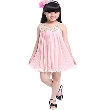 64d1297b056 Xsen Girls Princess Dresses Denim Skirts Bow Flower Ruffled Cute SunDresses  2-6y