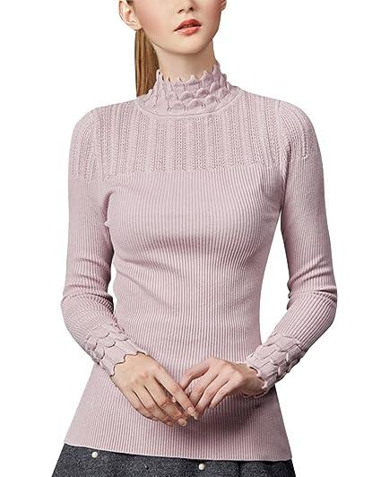 buy popular acc05 1113e Damen Halb Hoher Kragen Pullis Sweater Warme Pullover ...