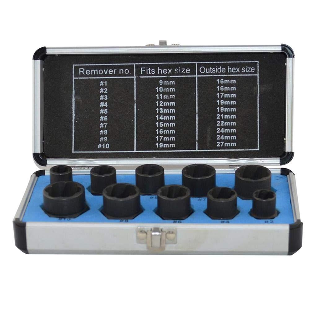 Cathy02Marshall 10 Pcs/Set Extractores de Pernos Extractor de Tuerca dañ ada Llaves de Vaso 9-19 mm Kit de removedor de Tuercas dañ adas