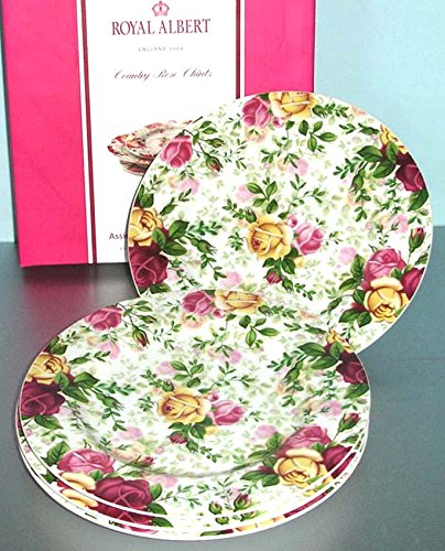 Royal Albert Country Rose Chintz 4 Salad Luncheon Dessert Plates New in Box