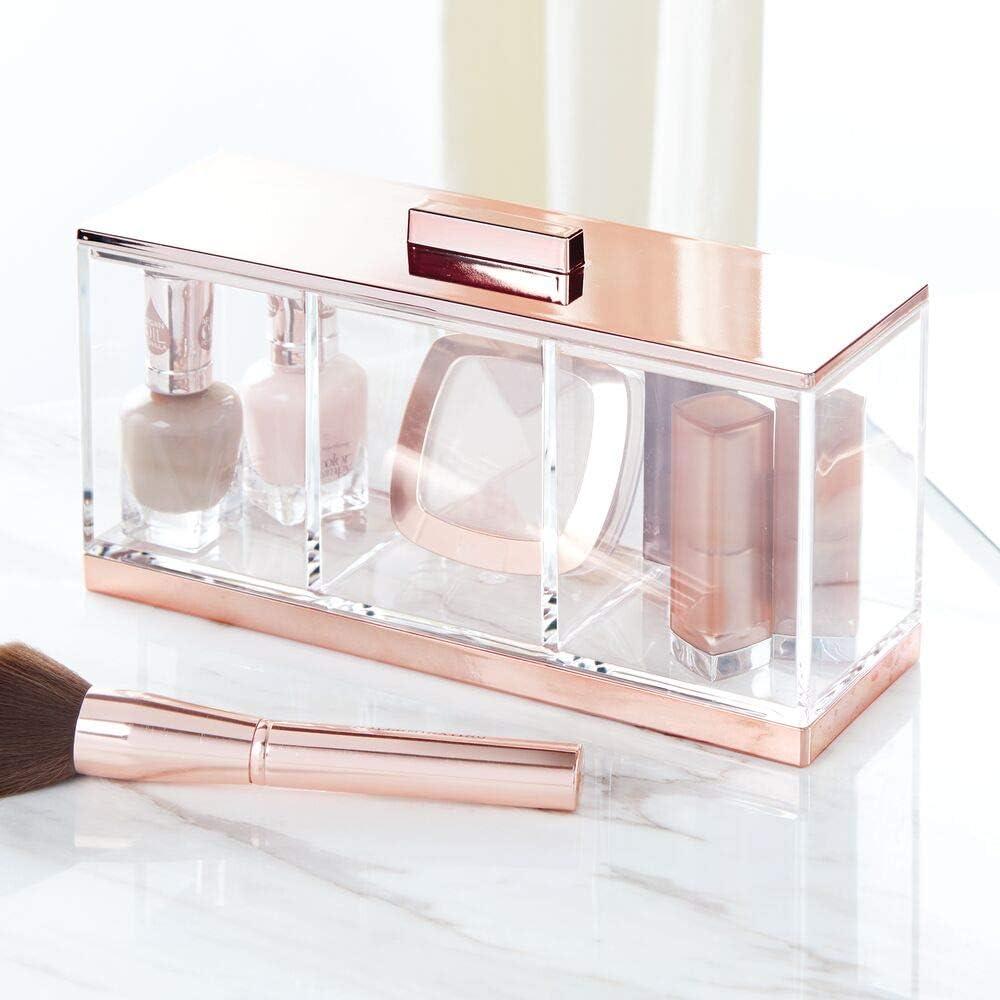 ideale Make-up Aufbewahrung f/ür das Bad oder den Schminktisch praktische Schminkaufbewahrung f/ür Lippenstift Concealer /& Co mDesign gro/ße Kosmetikbox mit Deckel durchsichtig und rosegold