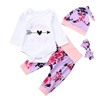 1e67901765db Amazon.com  3pcs Set Outfits Infant Baby Girls Letter Floral Print Long Sleeve  Romper+Floral Pants with Headhands Clothes Jumpsuit Sets (age 12-18month