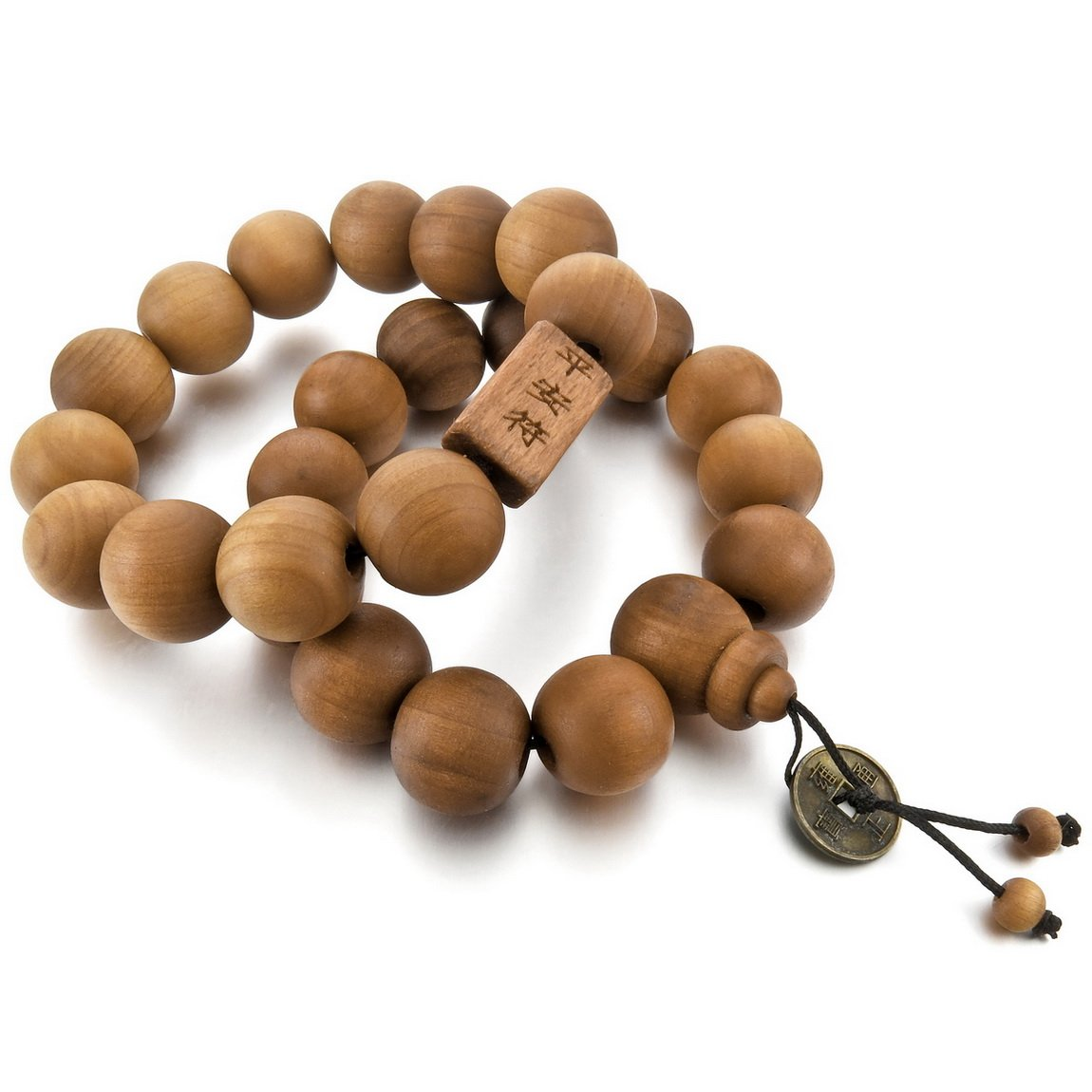 INBLUE Men, Women's 2 PCS Wood Bracelet Link Wrist Tibetan Buddhist Brown Bead Prayer Buddha Mala Elastic INBLUE Jewelry mnb1055