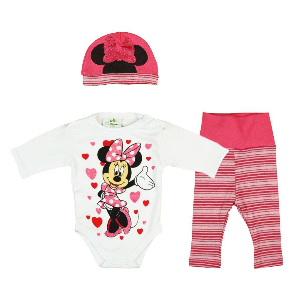 56 62 68 74 80 86 Cotone Dolce per 6-12 12-18 18 18-24 Mesi 1 Anno Body Berretto Pantaloni Disney Baby Ragazza Set Outfit 3 Pezzi con Minnie Mouse in Gr