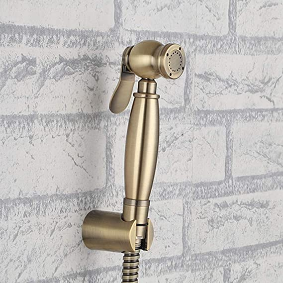 Brass Brushed Gold Toilet Bidet Sprayer Set Hand Bidet Shattaf Cold Valve Hose