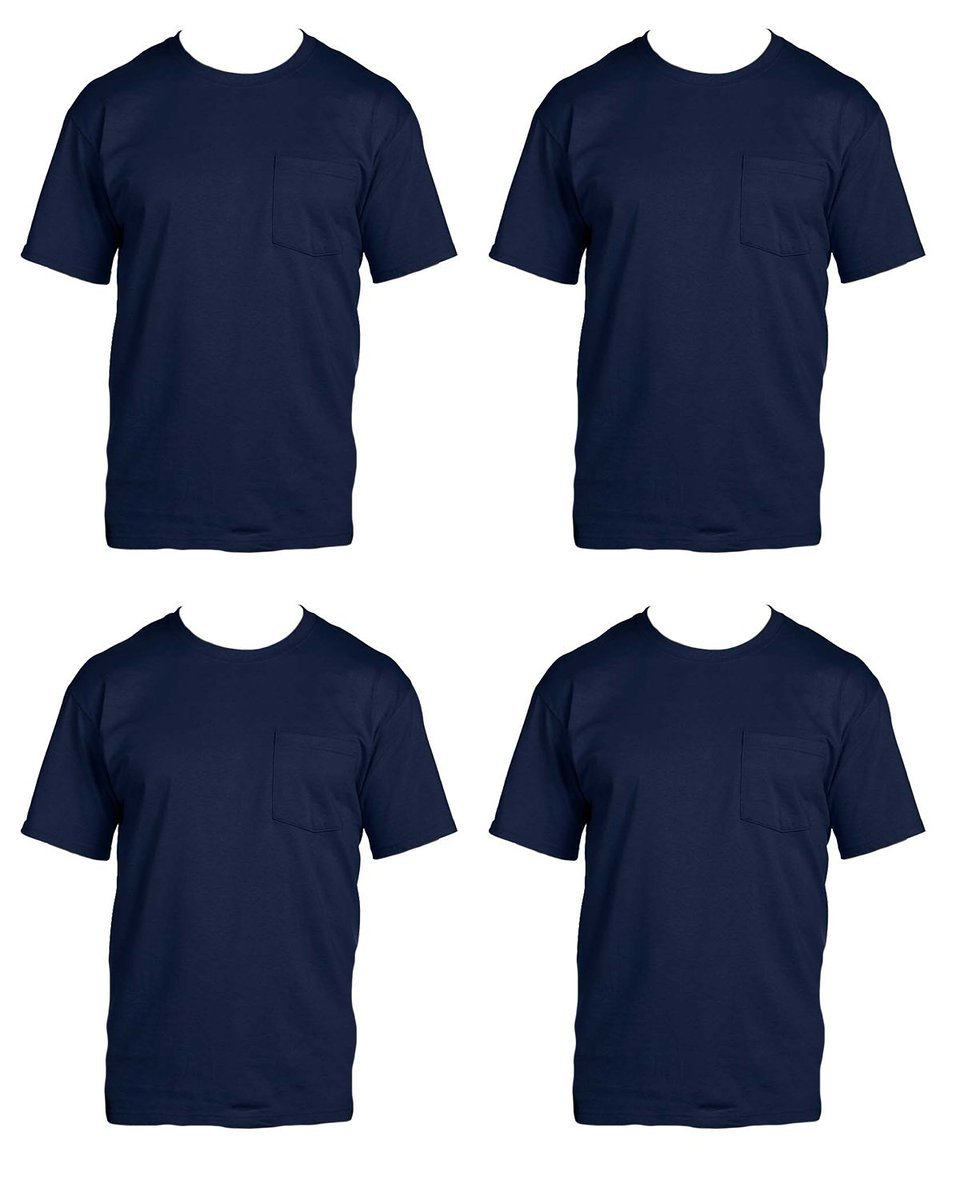 Fruit of the Loom Men's 4-Pack Pocket Crew-Neck T-Shirt - Colors May Vary 4P30BG