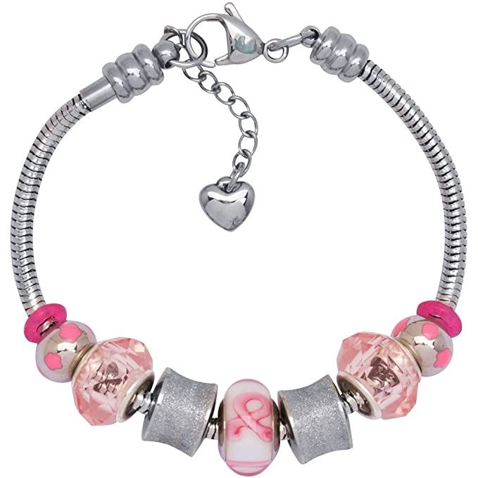 3a83251e0 Timeline Treasures European Charm Bracelet Fits Pandora Lampwork Glass Bead  Treasures in Pink 2014: Amazon.co.uk: Kitchen & Home