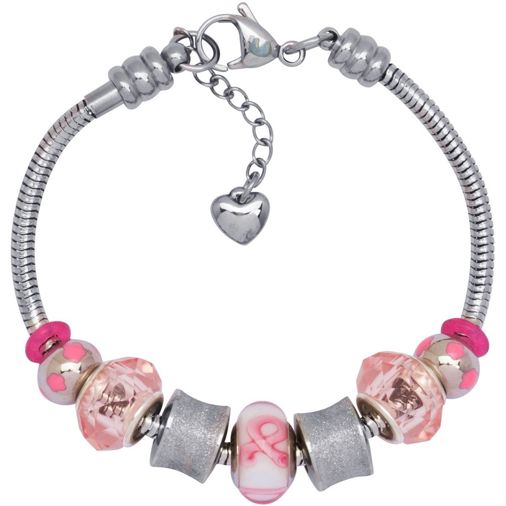 European Charm Bracelet With Bead Charms For Women, Stainless Steel Snake Chain, Pink Awareness Ribbon Charm
