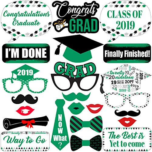 Graduation Photo Booth Props Green - Graduation Decorations 2019 - Graduation Party Supplies 2019 | Photo Booth Props Graduation Party Decorations | Class of 2019 Graduation Photo Props Green, 23 ct -