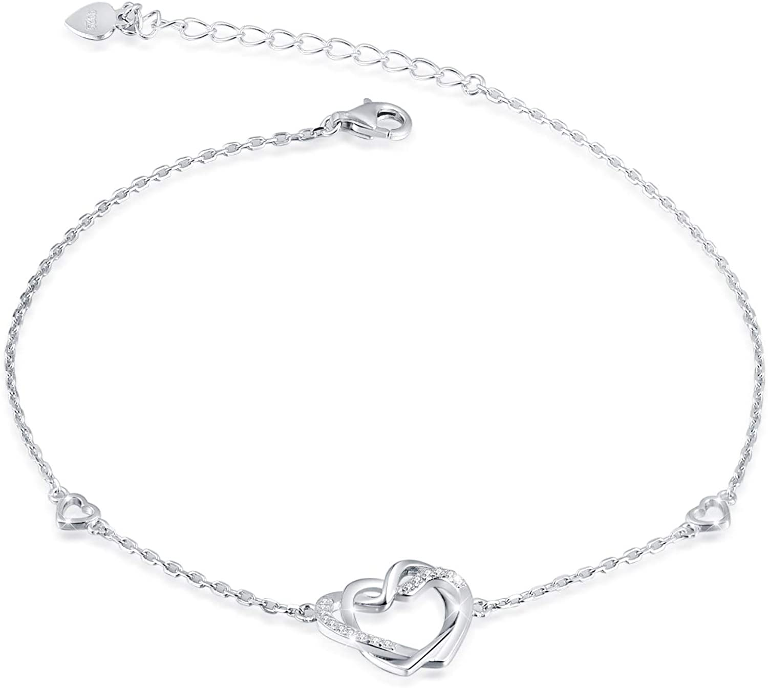 S925 Sterling Silver Anklet for Women Girl Adjustable Beach Style Foot Ankle Bracelet Jewelry (Double Heart)