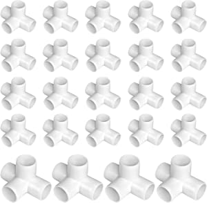 24 Pack 4 Way 1/2 Inch PVC Fittings, Dveda PVC Elbow Fittings PVC Pipe Connectors for Furniture Build, Greenhouse Shed Pipe and Tent Connection