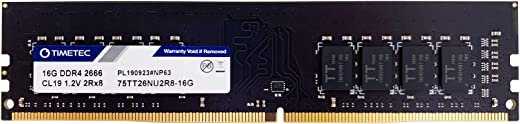 Timetec Hynix IC 16GB DDR4 2666MHz PC4-21300 Unbuffered Non-ECC 1.2V CL19 2Rx8 Dual Rank 288 Pin UDIMM وحدة ذاكرة الوصول العشوائي (16GB)