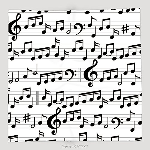 Custom Abstract Black And White Music Seamless Pattern With Notes And Clef Vector Background 320912588 Soft Fleece Throw Blanket