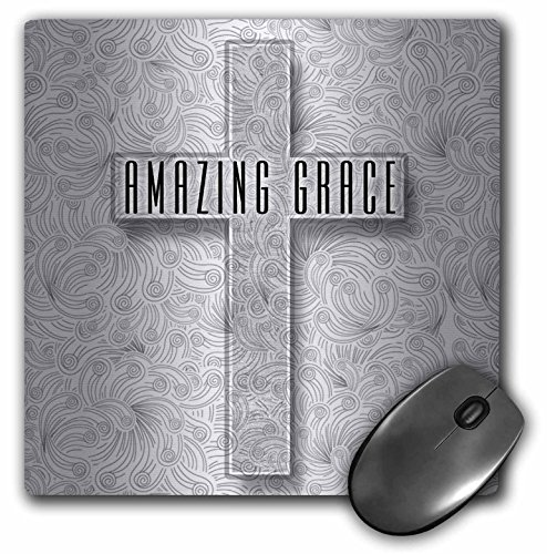 Price comparison product image 3dRose Mouse Pad Amazing Grace Silver Christian Cross with Swirls Elegant and Simple,  8 x 8 (mp_264281_1)