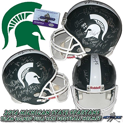 2014-MICHIGAN-STATE-SPARTANS-TEAM-SIGNED-FULL-SIZE-HELMET-wCOA-Autographed-College-Helmets