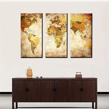Relddd Home Herz Wandbild Vintage Alte Wohnzimmer Kombination Dekoration  Malerei Welt Karte Ink Malerei Gemälde Rahmen