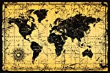 World Map Antique Vintage Old Style Decorative Educational Classroom Poster Print, Unframed 24×36 Picture