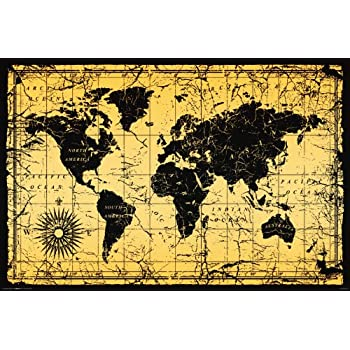 Amazon world map antique vintage old style decorative world map antique vintage old style decorative educational classroom print unframed 24x36 poster gumiabroncs Choice Image