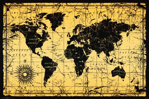 Amazon world map antique vintage old style decorative amazon world map antique vintage old style decorative educational classroom print unframed 24x36 poster posters prints gumiabroncs Gallery