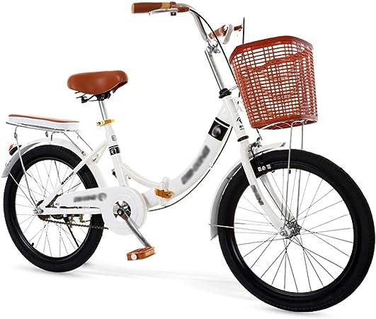 Bicicleta Plegable para Hombres y Mujeres, Bicicleta Retro de Ciudad con Frenos de Disco Dobles de Velocidad Variable para Trabajo Ligero con Luces Traseras y Canasta para Automóvil(20/22/24 Pulgada: Amazon.es: Hogar
