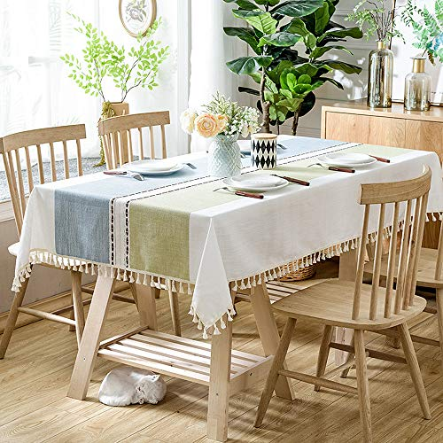 Linen Tablecloth for Square Kitchen Dining Tables, Oblong Cotton Linen Fabric Embroidered Table Cloth with Stitching Tassel, Washable Burlap Table Cover for 4 ft Table (Green and Blue, 55 x 55 Inch)