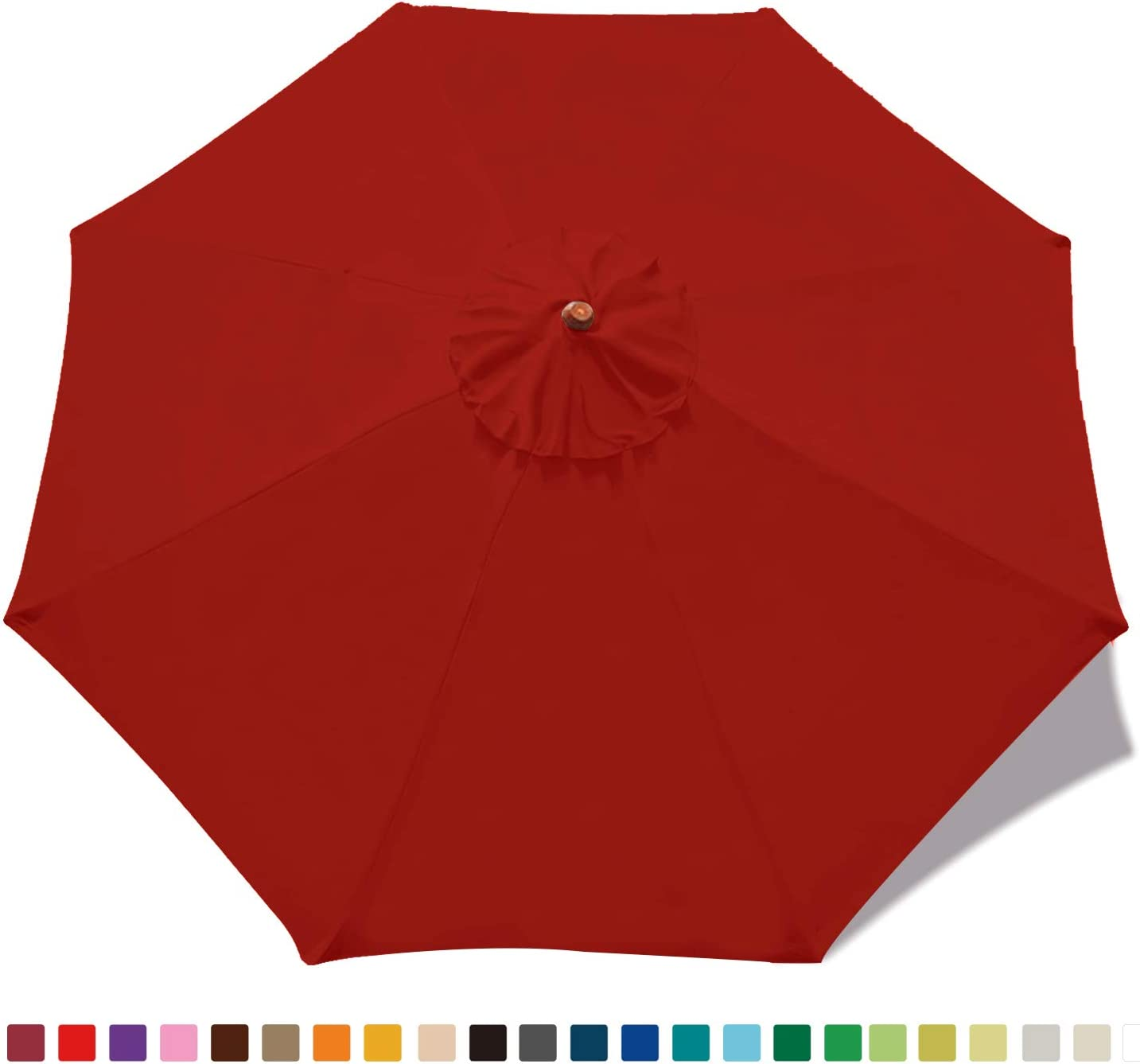 ABCCANOPY 9ft Umbrella Top for Patio Market Umbrella Replacement Canopy with 8 Ribs Red