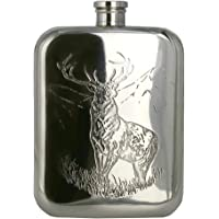 English Pewter- Pewter Flask- Tin Hip Flask- 6.0oz/170ml (Approx.) Stag Pattern -TSF608- Lead-Free Pewter Handmade in UK