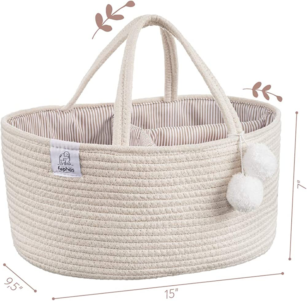Perfect Baby Shower /& Registry Gift Portable Diaper Storage Basket for Changing Table and Car Fephas Baby Diaper Caddy Organizer 100/% Cotton Rope Nursery Storage Bin