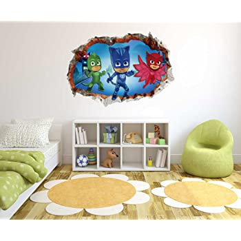 PJ Masks - 3D Smashed Wall Effect - Wall Decal for Home Nursery Decoration (Wide 20