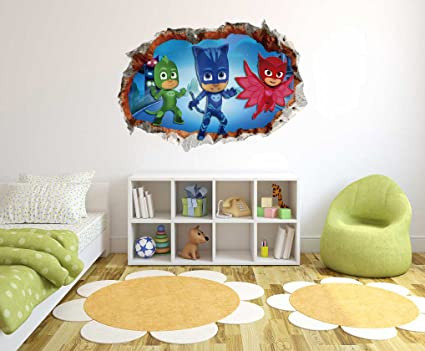 PJ Masks - 3D Smashed Wall Effect - Wall Decal for Home Nursery Decoration (Wide