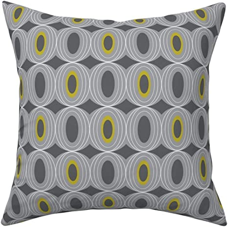 Square Cushion Cover,Chillout Retro Geometric Midcentury Modern Grey,40x40cm Cotton Sofa Throw Pillowcase Set Home Decoration for Bedroom Living Room Car Couch