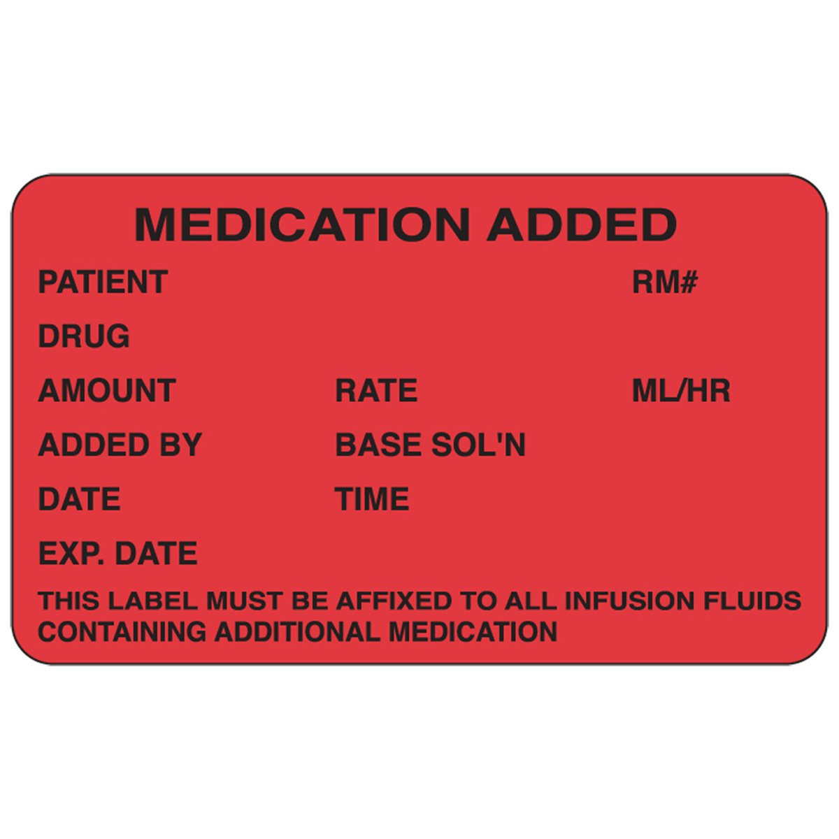 PDC Healthcare 59704613 Paper Label, Permanent, Medication Added, 2 1/2' x 1 1/2', Red (Pack of 1000) 2 1/2 x 1 1/2