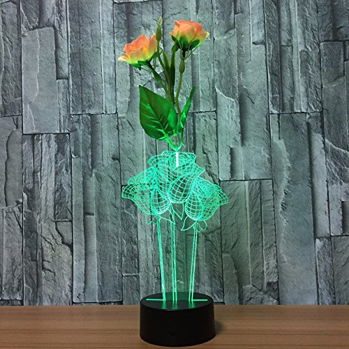 Black Illusion Flower - LED remote control Night Light Lamps,3D Optical Illusion light,7 Colors Table Flower arrangement Touch Desk Lamp,Parties Decoration ambience lamp,Holiday gifts Visual lights(Rose flower)