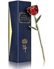 Rosa de Oro de 24 Quilates, Tallo Largo, en Caja de Regalo, el Mejor Regalo para Madres, Acción de Gracias, Navidad, San Valentín, cumpleaños, graduaciones, Bodas