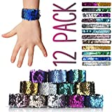 Coral Entertainments Mermaid Slap Bracelet 12 Pack for Birthday Party Favors Christmas Gifts, Two-color Decorative Reversible Charm Sequins Flip Wristband Bracelet for Kids,Girls,Boys,Women