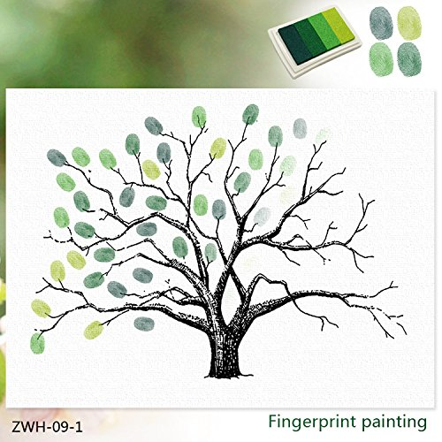Creative DIY fingerprint guest book Thickening Waterproof Canvas Fingerprints Painting Tree Guest Signature Sign-in Book for Wedding Birthday Party Home Décor (Green)