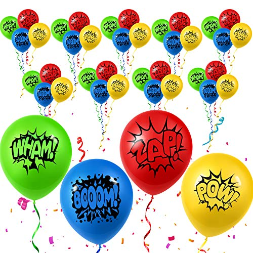 Super Hero Balloons 40 pack Red Yellow Green Blue Bulk Kids Birthday Party Decorations Favors Supplies ()