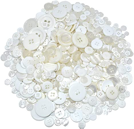 650 PCS Assorted Size Resin Round Buttons DIY Craft Sewing Decorations for Kid's Painting (White)